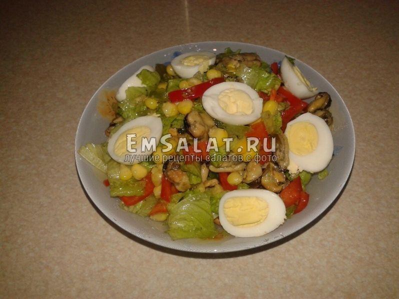 рецепт готового салата с мидиями