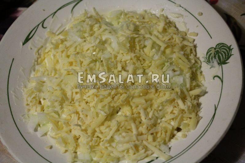 лук, сыр, майонез, салат - как готовить салат мимоза