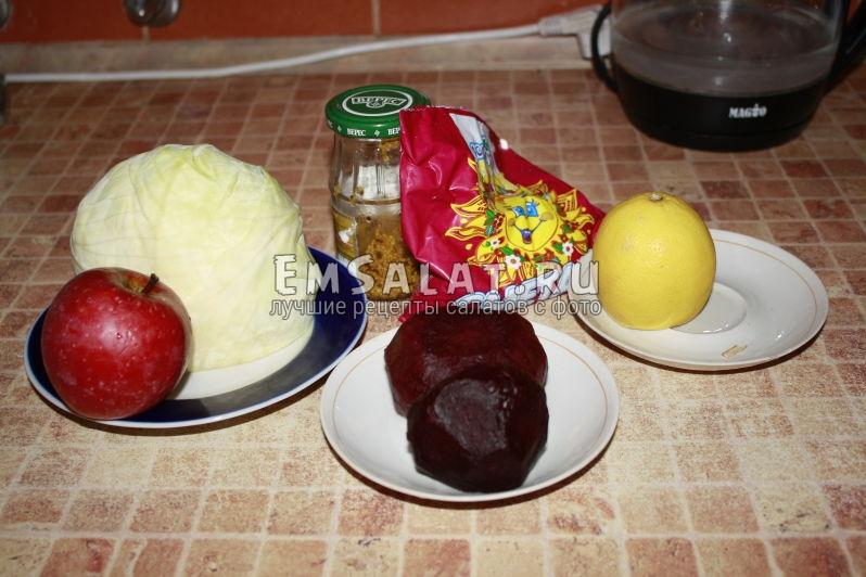Свекла, капуста, сметана, лимон, горчица, яблоко