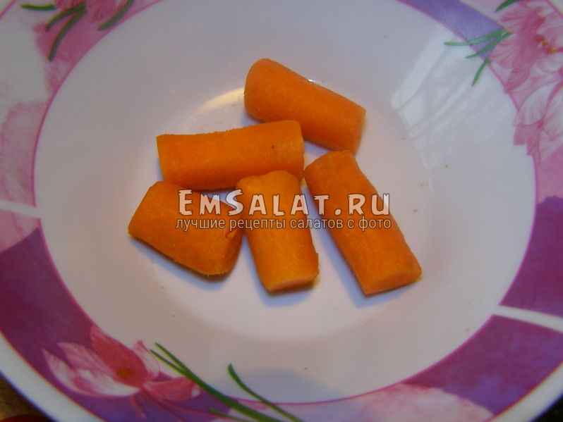 половинки моркови