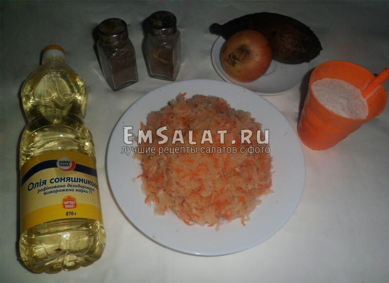 Ингредиенты для салата с квашенной капустой