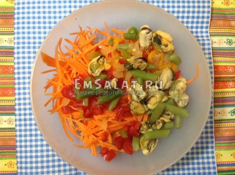 Морковь, перец, мидии,стручковый горох