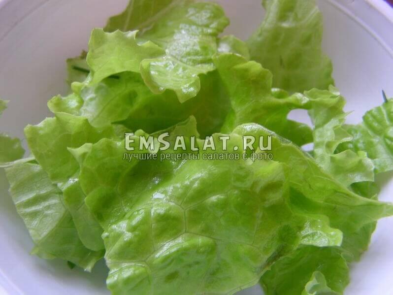 листья салата нарваны руками