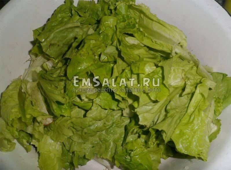 Измельченные листья салата