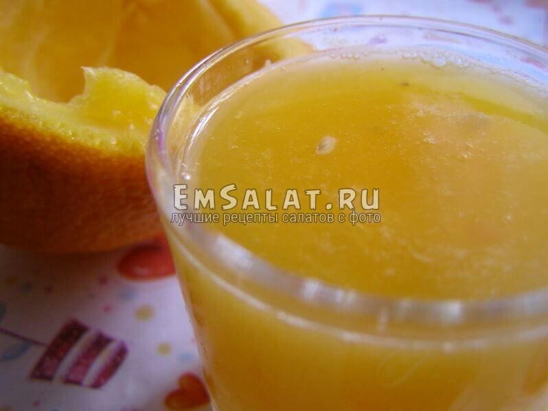 апельсиновый сок с соком имбиря и маслом