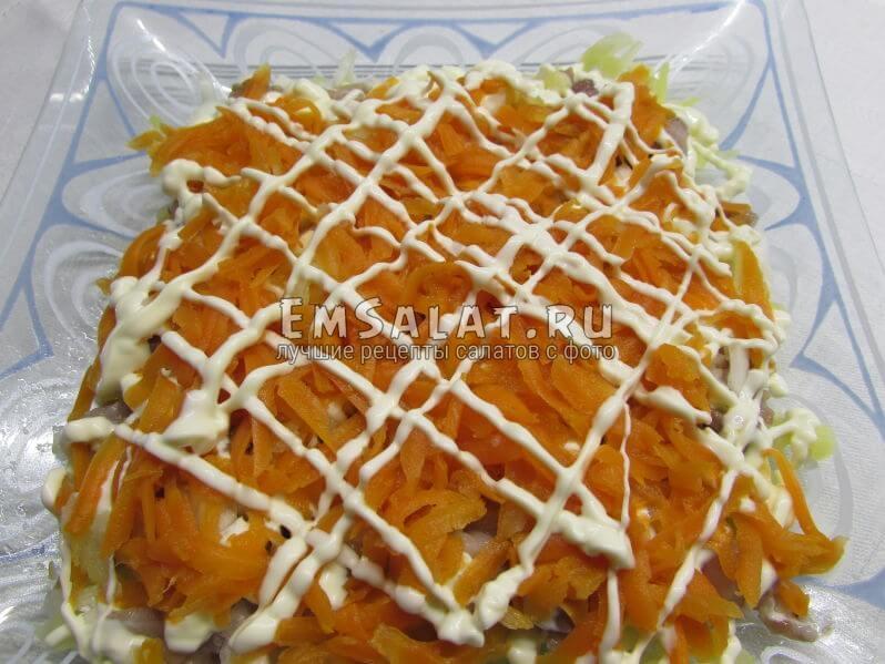 натёртая отварная морковь