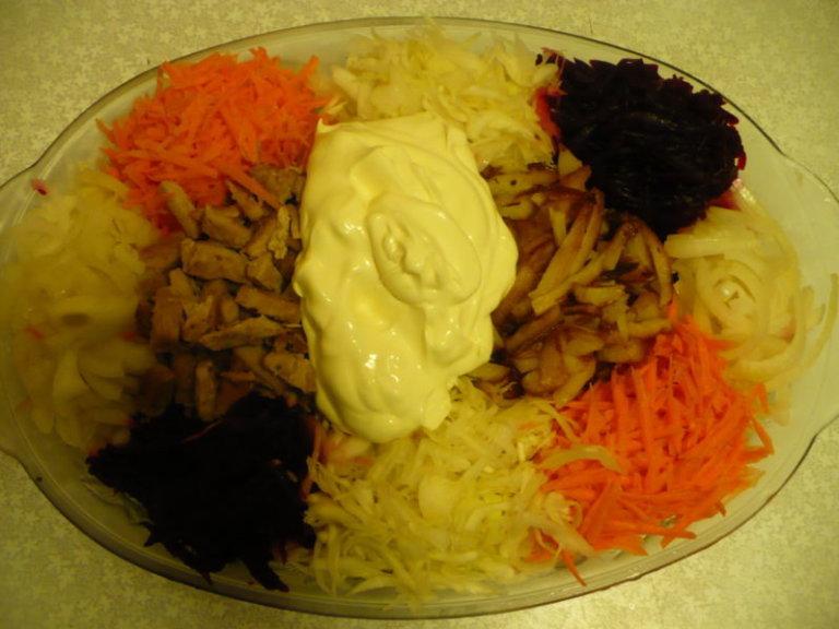Салат радуга с мясом рецепт с пошагово