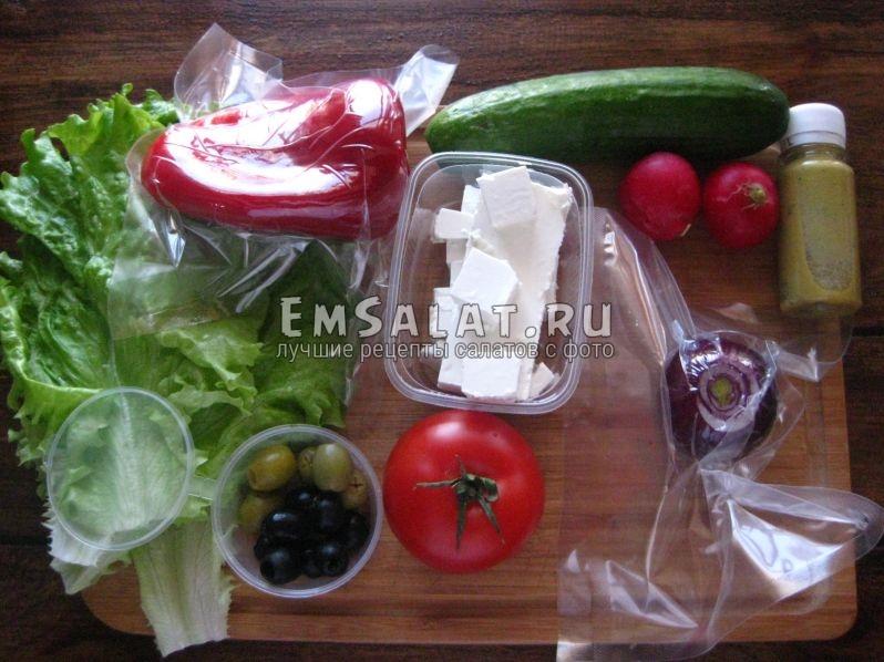 Все необходимые ингредиенты для салата афинского- состав продуктов