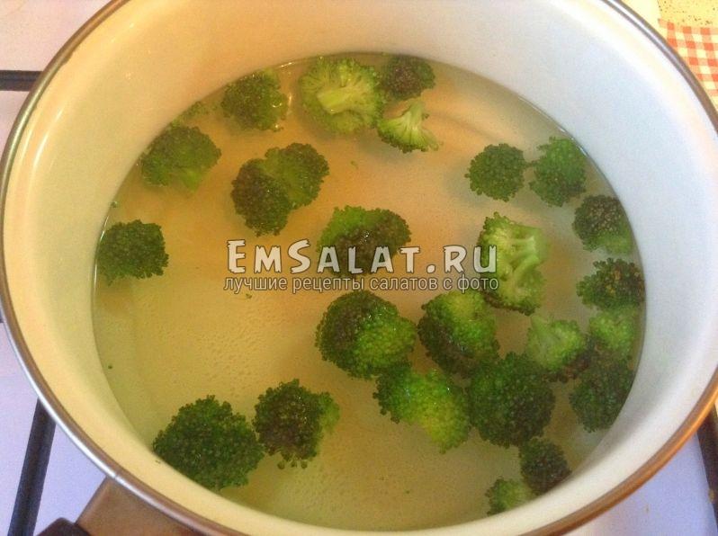 Капуста брокколи в кипящей воде.