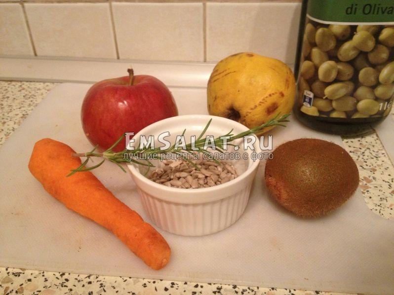 яблоко, айва, морковь, киви, семечки, розмарин