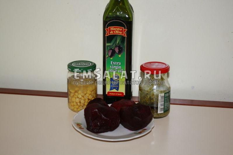 отварная свекла, песто, кукуруза, оливковое масло